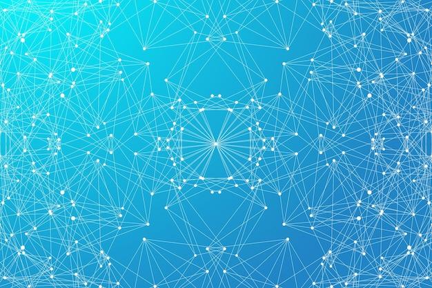 Abstrait géométrique avec ligne connectée et points. fond de réseau et de connexion pour votre présentation. fond polygonale graphique. flux de vague. illustration vectorielle scientifique.