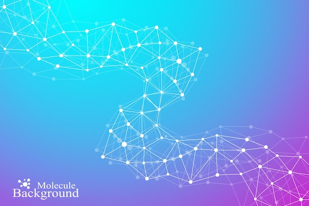 Abstrait géométrique avec ligne connectée et points. structure moléculaire de l'adn ou de la composition des neurones. illustration vectorielle.