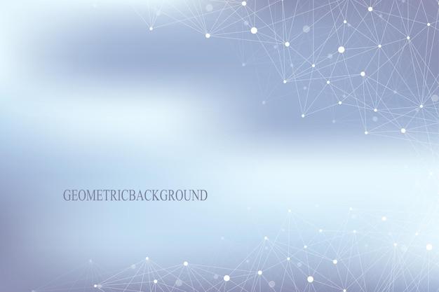 Abstrait géométrique avec ligne connectée et points. structure moléculaire. arrière-plan du concept de technologie. contexte social graphique pour votre conception. illustration vectorielle.