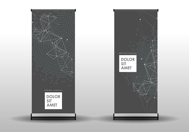 Abstrait géométrique avec des lignes connectées et des points. couverture de bannière de technologie
