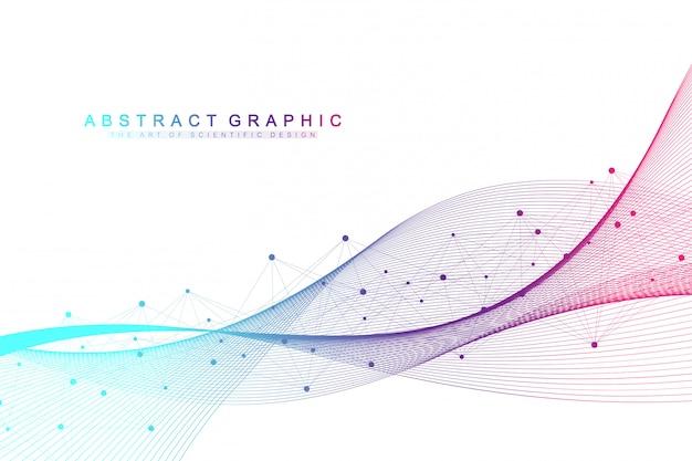 Abstrait géométrique avec des lignes et des points connectés. débit des vagues. fond de molécule et de la communication. contexte graphique pour votre conception. illustration.