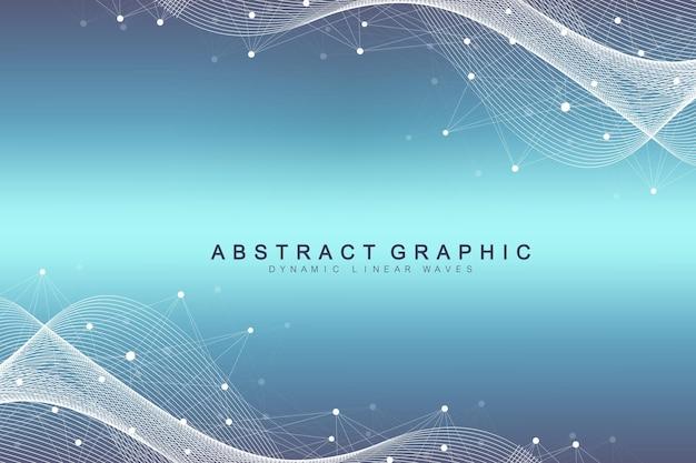 Abstrait géométrique avec des lignes et des points connectés. flux de vague. fond de molécule et de communication. arrière-plan graphique pour votre conception. illustration vectorielle.