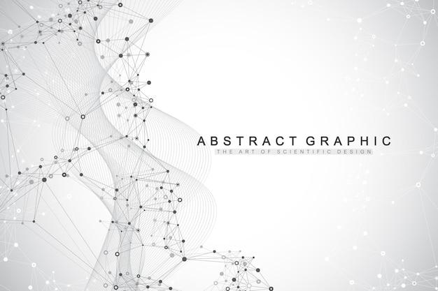 Abstrait géométrique avec des lignes et des points connectés. point d'écoulement de la connectivité. fond de molécule et de communication.