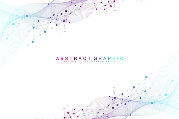 Abstrait géométrique avec des lignes et des points connectés. point de flux de connectivité. fond de molécule et de communication. arrière-plan de connexion graphique pour votre conception. illustration vectorielle.