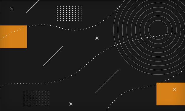 Abstrait géométrique minimal de memphis noir.