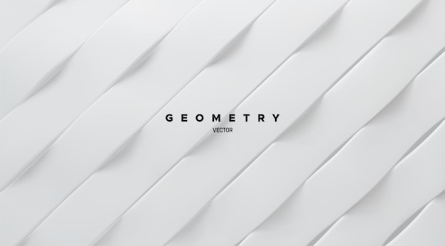 Abstrait géométrique minimaliste avec des formes de ruban ondulé blanc
