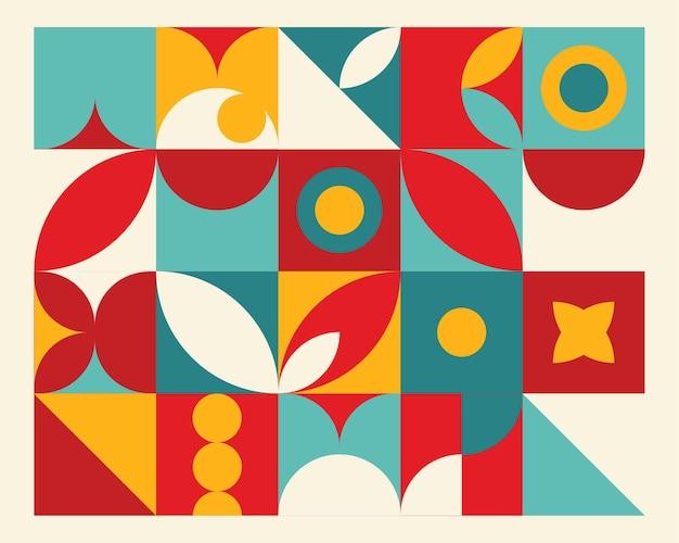 Abstrait géométrique mural coloré dans le style bauhaus.