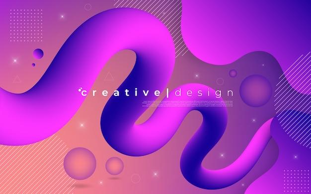 Abstrait graphique moderne des formes et des vagues colorées dynamiques.