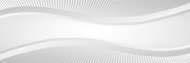 Abstrait gris, bannière, formes ondulées, points de demi-teintes