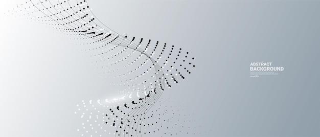 Abstrait gris et blanc avec des particules qui coule