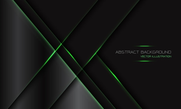 Abstrait gris foncé métallique ligne de lumière verte géométrique slash avec espace vide design fond de technologie futuriste de luxe moderne