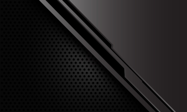 Abstrait gris métallique ligne noire cyber sur fond de technologie futuriste maille cercle sombre.