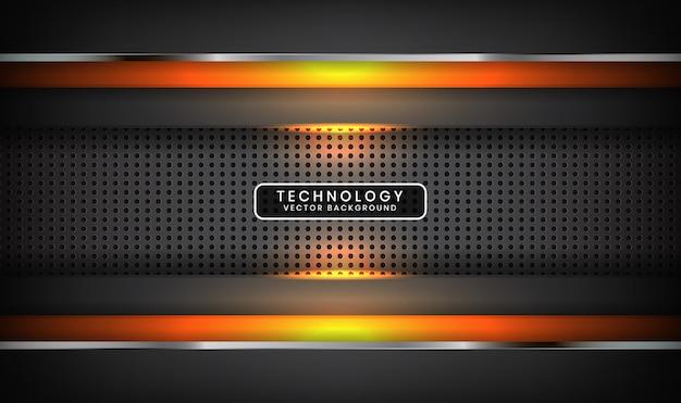 Abstrait gris technologie avec effet de lumière orange sur l'espace sombre