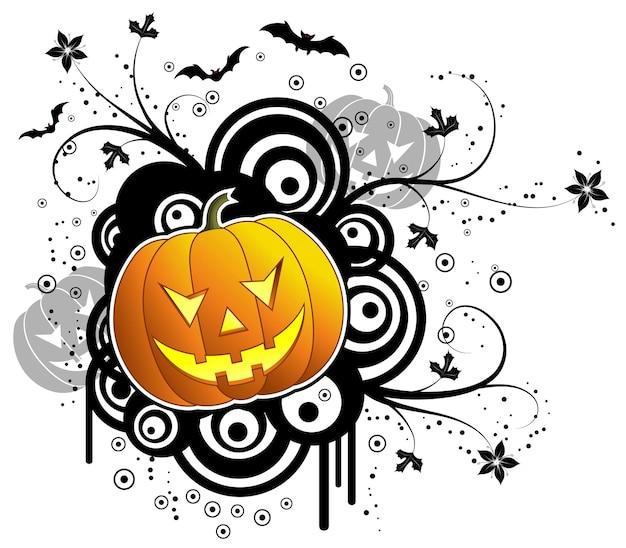 Abstrait halloween avec chauves-souris & citrouille, illustration vectorielle