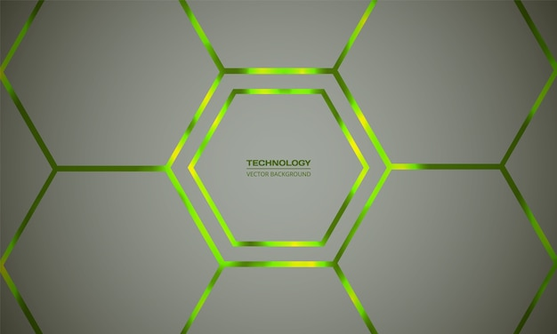 Abstrait hexagonal vert clair. grille légère en nid d'abeille. le vert vif clignote sous l'hexagone dans la technologie de la lumière, moderne, futuriste.