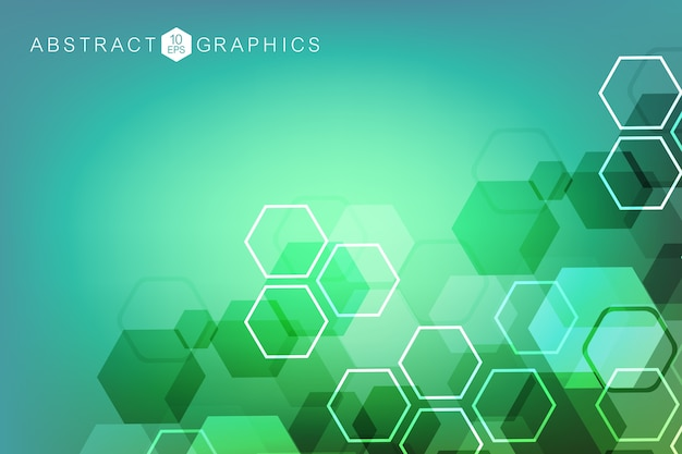 Abstrait hexagonal. visualisation big data. connexion au réseau mondial. médical, technologie, formation scientifique.
