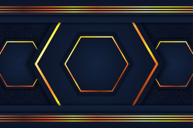 Abstrait hexagone. combinaison de couleurs bleu et or. motif de lignes dorées en haut et en bas.