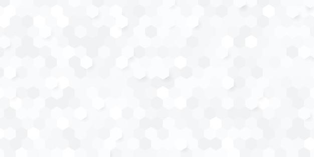 Abstrait Hexagone Géométrique Blanc Et Gris Vecteur Premium