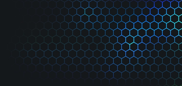 Abstrait hexagone sombre sur fond bleu.