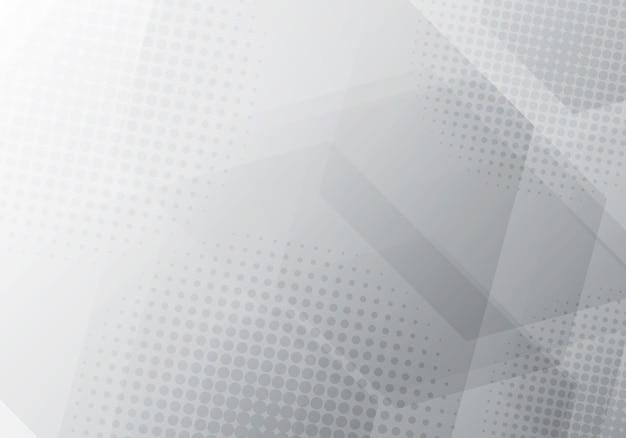 Abstrait D'hexagones Géométriques Gris Et Blancs Vecteur Premium