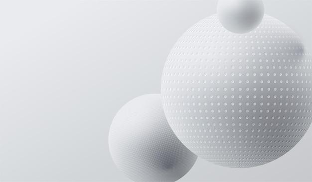 Abstrait avec illustration de boules 3d blanches