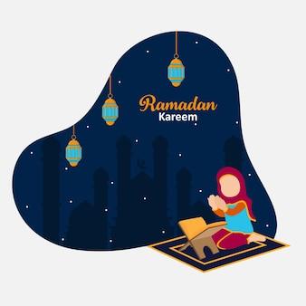 Abstrait islamique minimal sur la fête du mois sacré du ramadan kareem vecteur premium