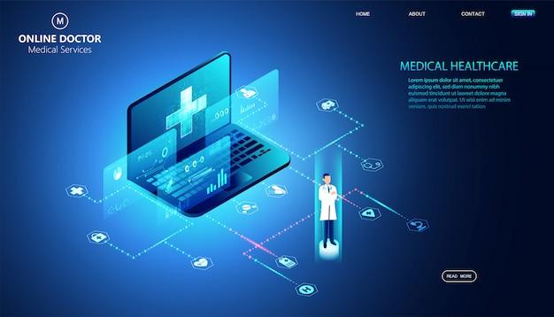 Abstrait isométrique en ligne médecin et services médicaux soins de santé traitement internet.