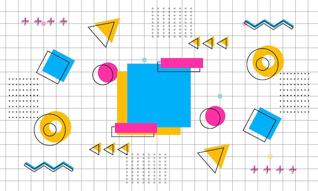 Abstrait jaune, bleu et rose sur fond de style memphis. modèle pour les annonces.