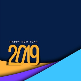 Abstrait joyeux nouvel an 2019 papier moderne coupé de fond