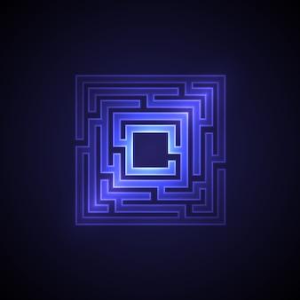 Abstrait de labyrinthe avec lumière rougeoyante