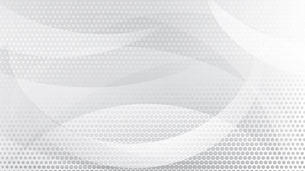 Abstrait de lignes courbes, de courbes et de points de demi-teintes en couleurs blanches et grises