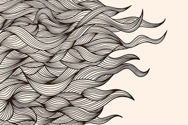 Abstrait avec des lignes ondulées sur fond beige.