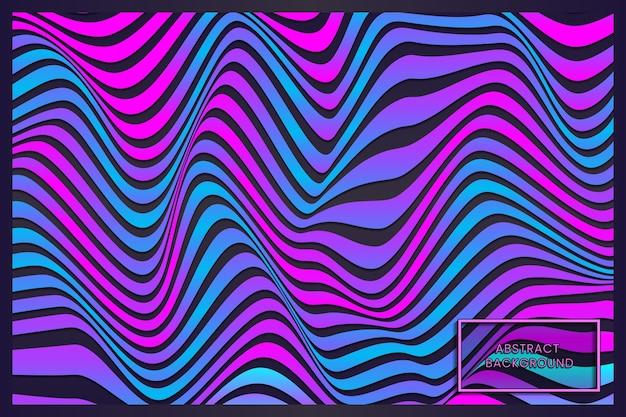 Abstrait de lignes ondulées rouge bleu violet déformé