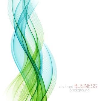 Abstrait, lignes ondulées transparentes bleues et vertes. vague de fumée bleue. fond ondulé bleu et vert