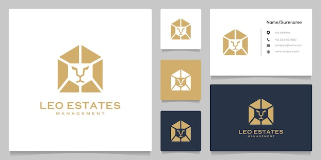 Abstrait lion maison immobilier luxe mosaïque logo design