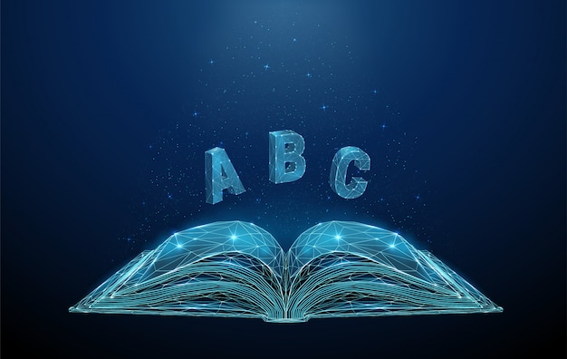 Abstrait livre ouvert avec des lettres volantes abc