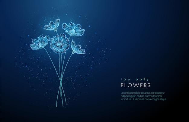 Abstrait low poly floraison bouquet de fleurs.