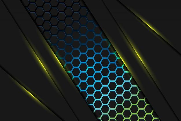 Abstrait lumière jaune se chevauchent sur sombre avec une conception de maille hexagonale bleu jaune coloré fond de technologie futuriste de luxe moderne