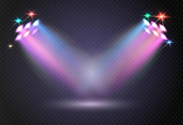 Abstrait lumière rougeoyante de projecteur.