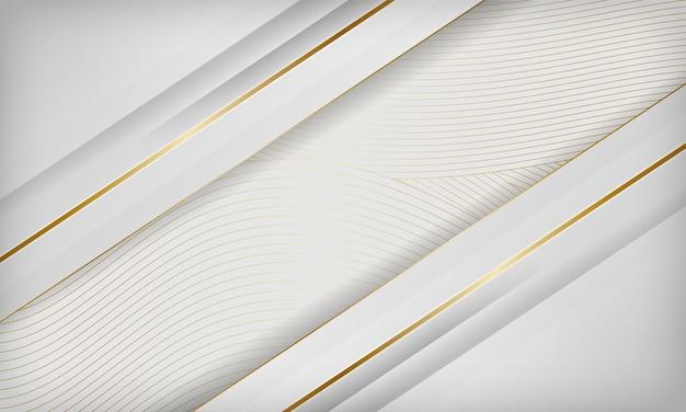 Abstrait de luxe blanc papercut avec décoration de ligne d'or. concept de design 3d élégant