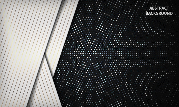 Abstrait luxe noir et blanc se chevauchent avec cercle argenté scintille points décoration. texture avec élément rayé doré.