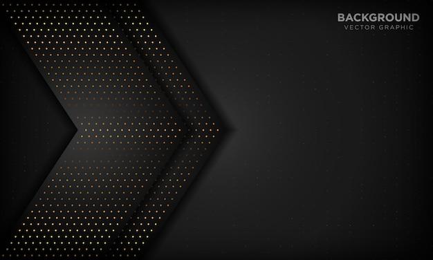 Abstrait de luxe noir avec des couches de chevauchement. texture avec élément de point de paillettes d'or.
