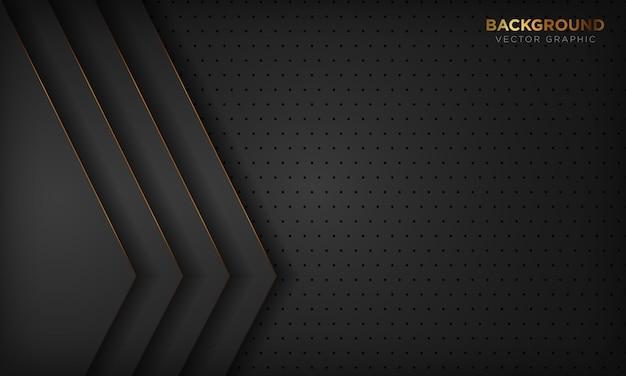 Abstrait de luxe noir avec décoration de ligne dorée.