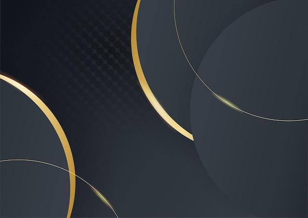 Abstrait de luxe noir et or. vecteur de modèle de bannière sombre moderne avec des motifs de forme géométrique. conception graphique numérique futuriste