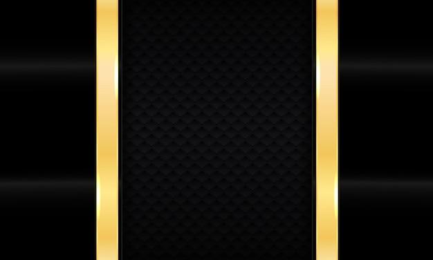 Abstrait de luxe noir. texturé avec une ligne dorée réaliste.
