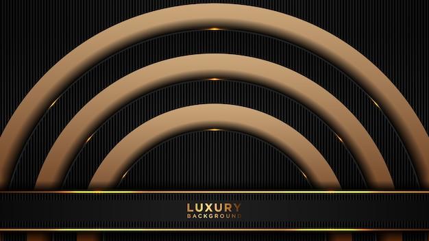 Abstrait luxe polygonale noir et or. fond moderne en couches superposées sombres.