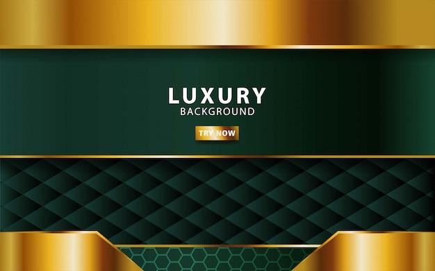 Abstrait luxe premium vert avec ligne d'or