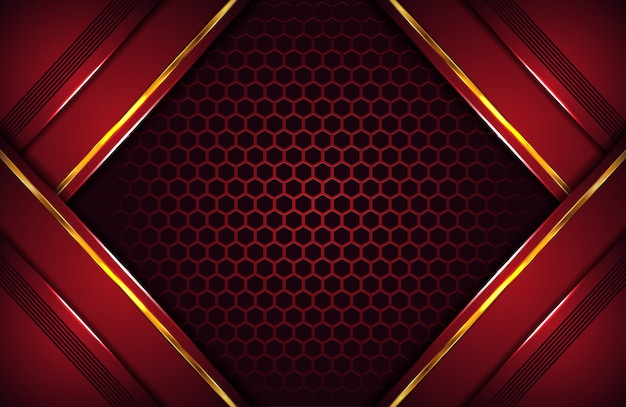 Abstrait de luxe rouge foncé avec une forme dorée