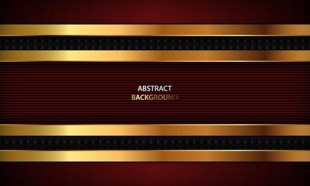 Abstrait de luxe rouge avec ligne dorée conception de modèle 3d élégant et moderne