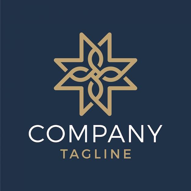 Abstrait luxe soleil étoile croix monoline logo